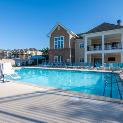 Resort style swimming pool to cool off in at The Reserve at White Oak in Garner, North Carolina