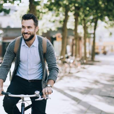 Resident riding his bike near Water Marq in Austin, Texas