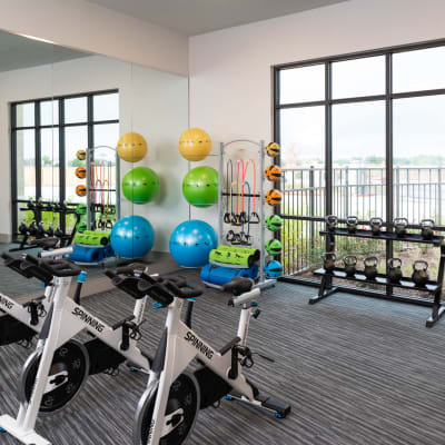 Fitness center at Bellrock Market Station in Katy, Texas