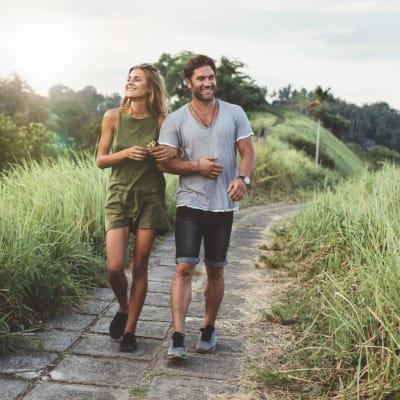 Couple on a walk near Bellrock Market Station in Katy, Texas