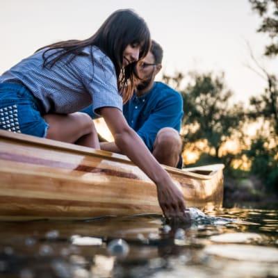 Residents kayaking near Bellrock Market Station in Katy, Texas