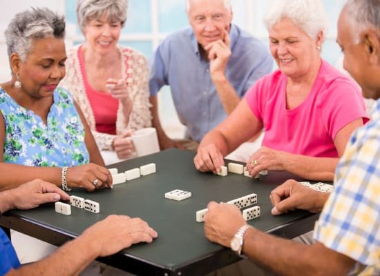Residents enjoying a game at Westminster Memory Care in Aiken, South Carolina