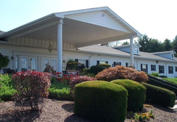 Exterior landscaping outside the front office at Heritage Hill Senior Community in Weatherly, Pennsylvania