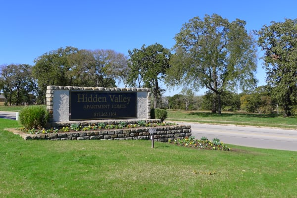 External photo of main entrance to Hidden Valley Apartments