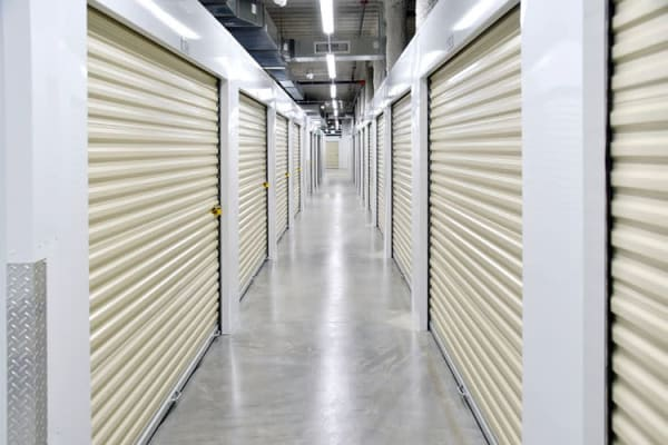 Well lit hallways at Edgemark Self Storage