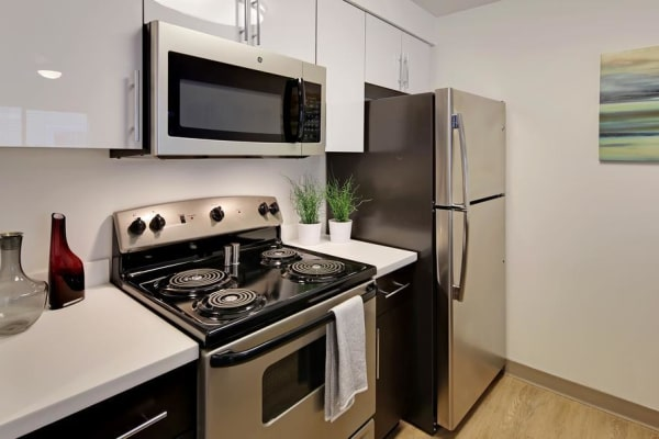 white cabinet kitchen an Elan 41 Apartments home