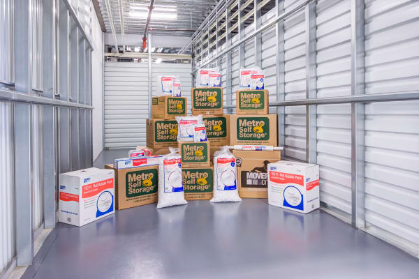 Unit interior with packages at Metro Self Storage in Blaine, Minnesota