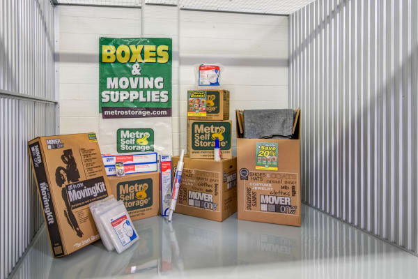 Unit interior with packages at Metro Self Storage in Orono, Minnesota