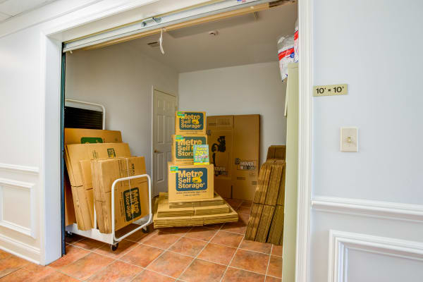 Indoor unit with packages at Metro Self Storage in Stanhope, New Jersey
