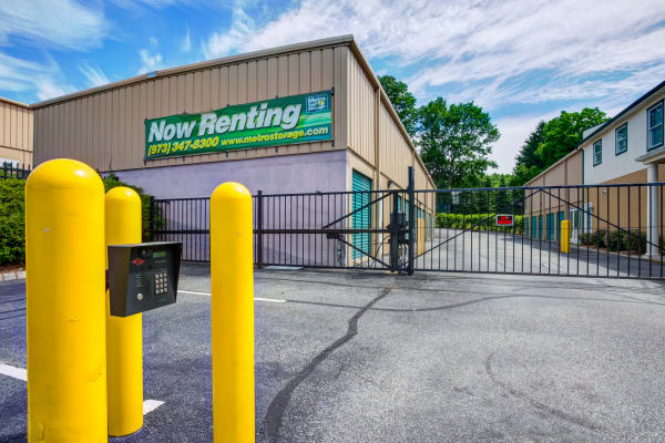 Access gate with security panel at Metro Self Storage in Stanhope, New Jersey