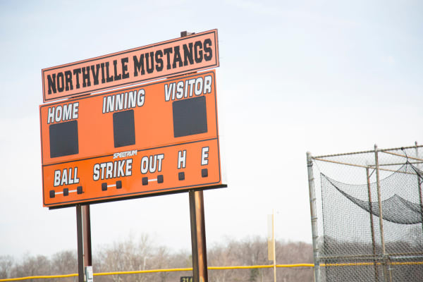 Scoreboard at nearby community field in Northville