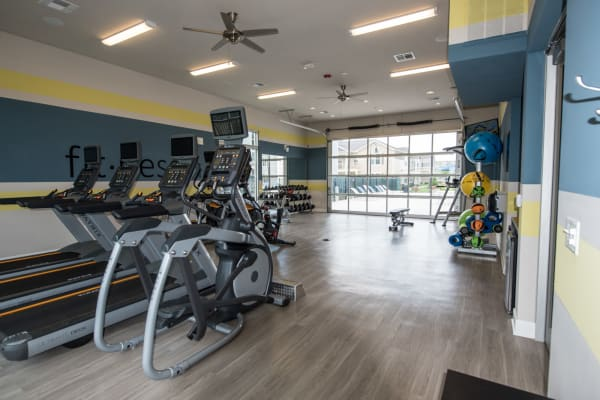 Fitness center at Springs at Kenosha Apartments in Kenosha