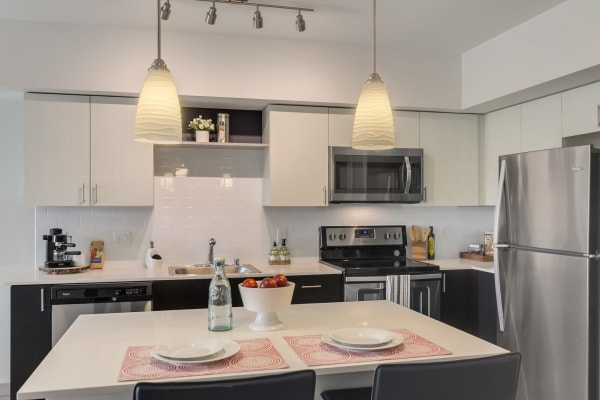 Kitchen at Tria Apartments in Newcastle,