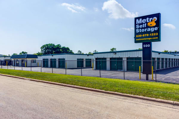 Front entrance sign at Metro Self Storage in Batavia, IL