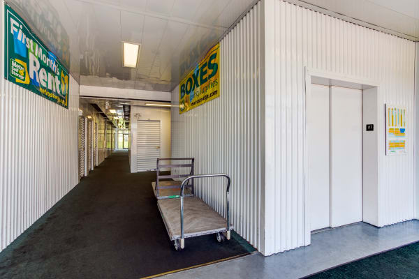 Elevator and carts at Metro Self Storage in Batavia, IL