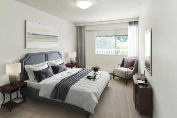 Master bedroom at Fraser Tolmie Apartments in Saanich