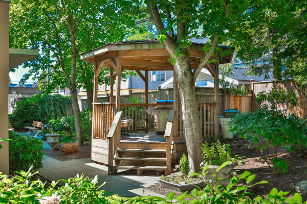 Beautiful gazebo at Larchway Gardens in Vancouver