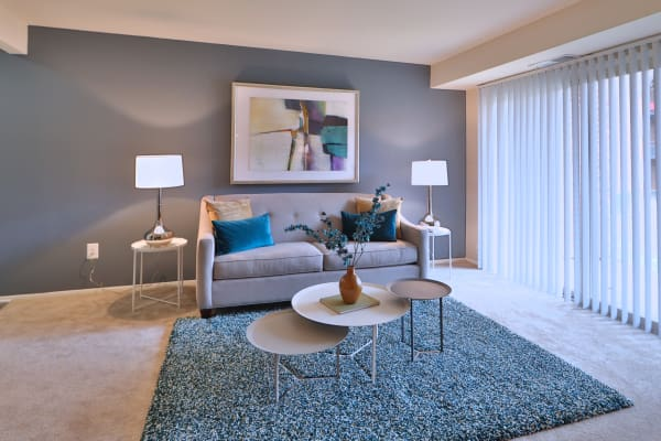 Taylor Park Apartment Homes offers a modern living room in Nottingham, Maryland
