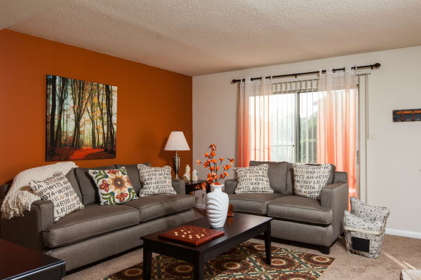 Cozy furniture and warm tones in a living room at Briarwood Apartments in Fayetteville, North Carolina