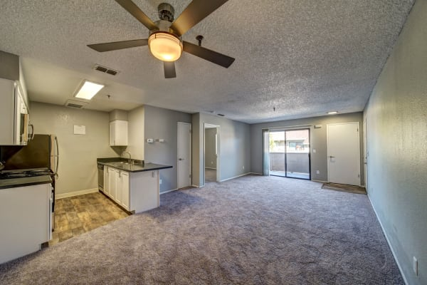 open floor plans, view of living room and kitchen at Parkside Commons Apartments