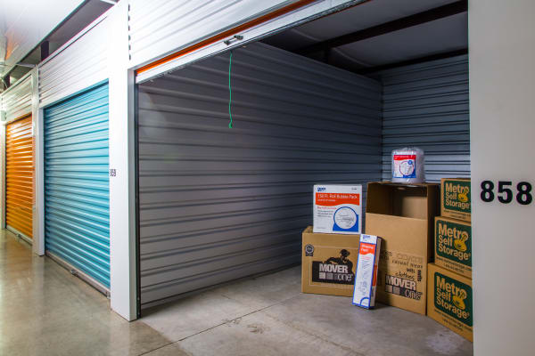 Open storage unit at Metro Self Storage in Amarillo