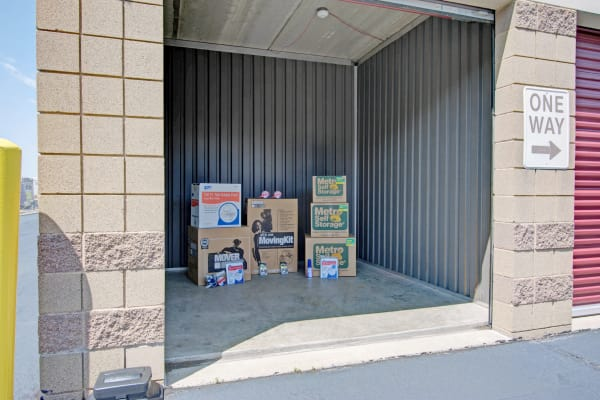Unit interior with packages at Metro Self Storage in Bloomington, Minnesota