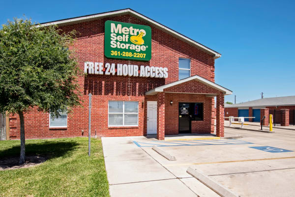 Office with handicap parking slot at Metro Self Storage in Corpus Christi, Texas