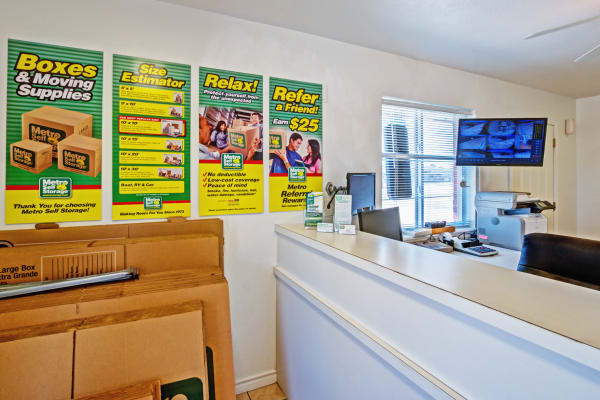 Office interior view at Metro Self Storage in Corpus Christi, Texas