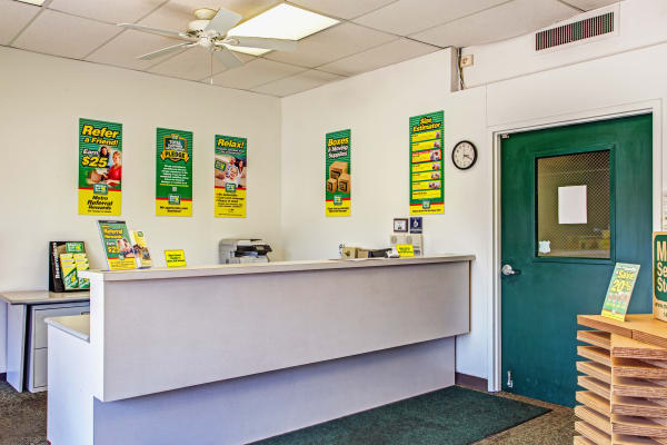 Office reception at Metro Self Storage in Des Plaines, Illinois