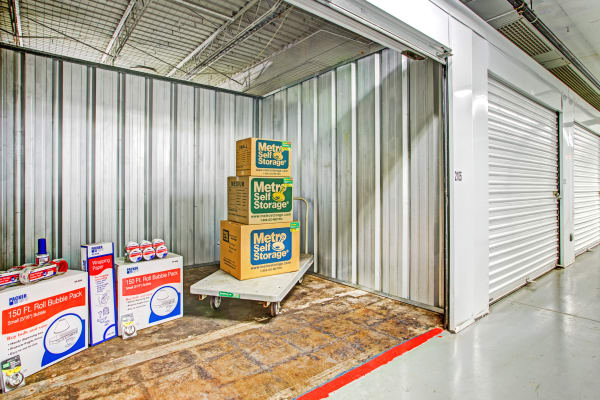 Storage unit with packages at Metro Self Storage in Des Plaines, Illinois