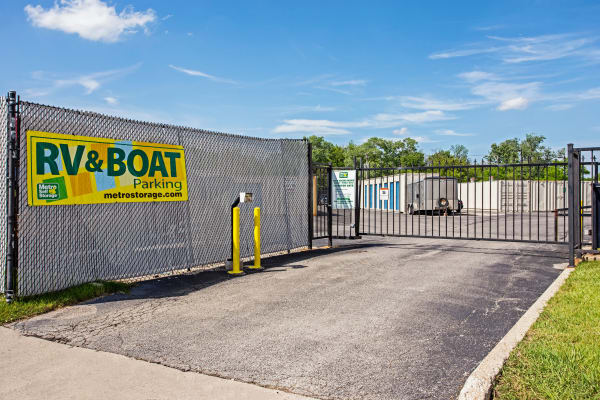 Gate with security panel at Metro Self Storage in Des Plaines, Illinois