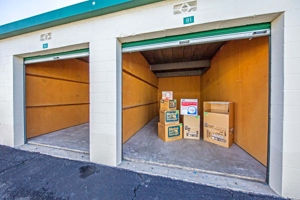 Open unit with packages at Metro Self Storage in Fort Worth, Texas