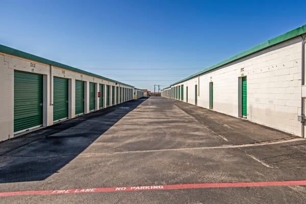 Exterior drive up units at Metro Self Storage in Fort Worth, Texas