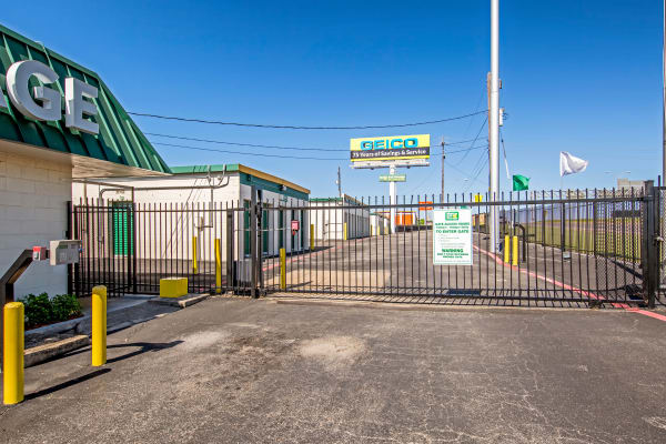 Access gate with security panel at Metro Self Storage in Fort Worth, Texas