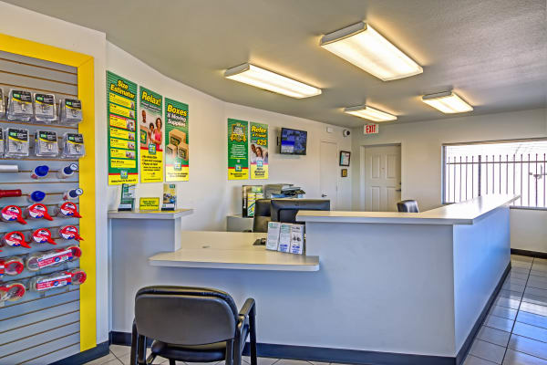 Office reception at Metro Self Storage in Fort Worth, Texas