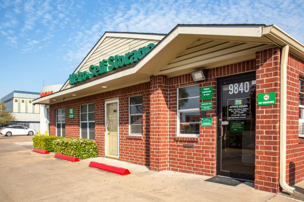 Leasing office entrance at Metro Self Storage in Houston, Texas