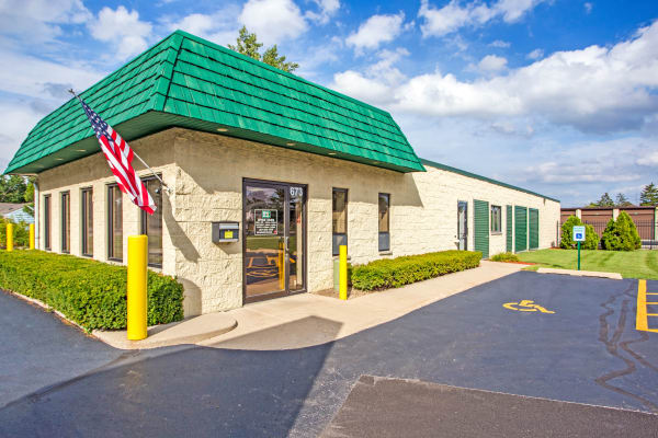 Leasing office entrance at Metro Self Storage in Grayslake, Illinois