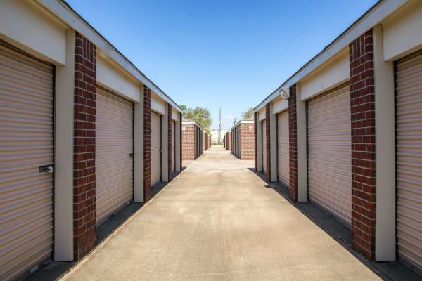 Exterior drive up units at Metro Self Storage in Houston, Texas