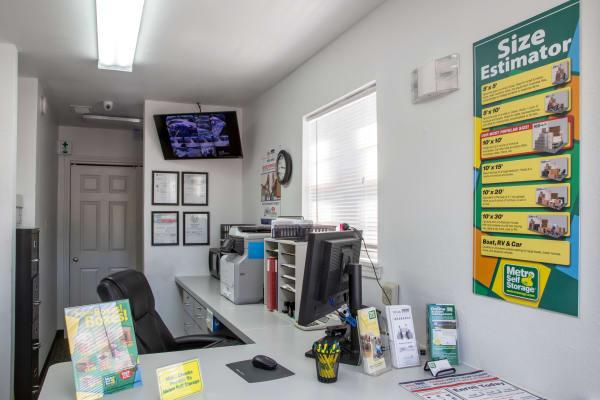 Office reception at Metro Self Storage in Houston, Texas