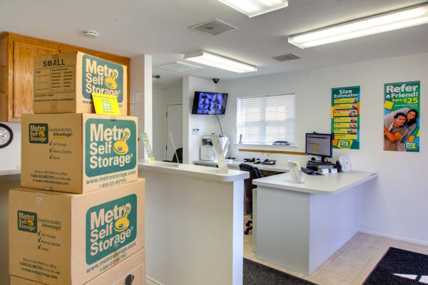 Office reception at Metro Self Storage in Houston, Texas