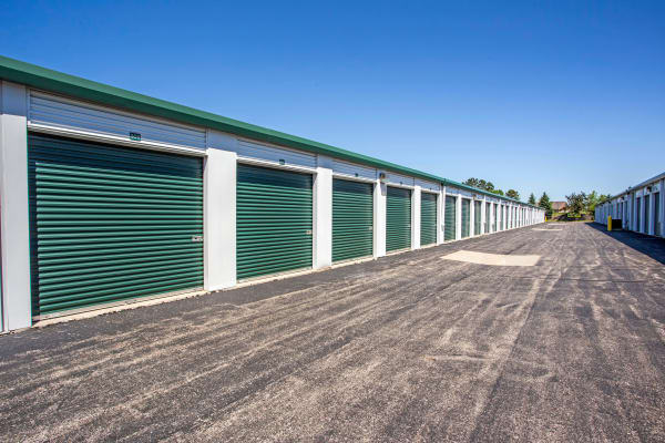 Exterior drive up units at Metro Self Storage in Lake Zurich, Illinois