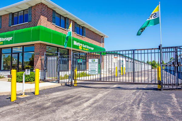Access gate with security panel at Metro Self Storage in Lake Zurich, Illinois