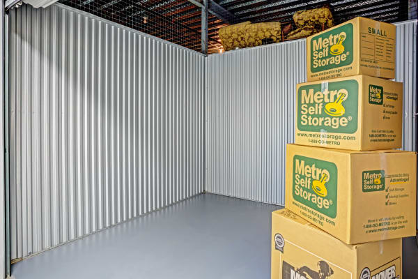 Open unit with packages at Metro Self Storage in Lakeland, Florida