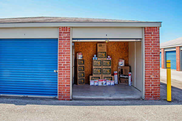 Open unit with packages at Metro Self Storage in La Marque, Texas