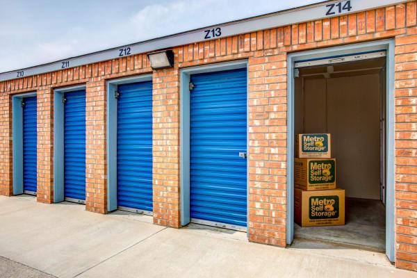 Open outdoor units at Metro Self Storage in Midland, Texas