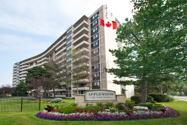 Beautiful green grass in front of Applewood on the Park in Mississauga