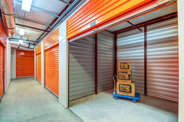 Open unit with packages at Metro Self Storage in Metairie, Louisiana