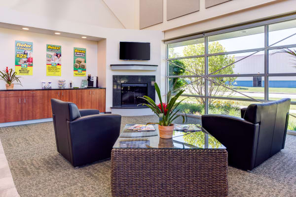 Leasing office waiting area at Metro Self Storage in Northbrook, Illinois
