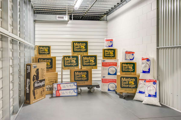 Unit interior with packages at Metro Self Storage in Maple Grove, Minnesota
