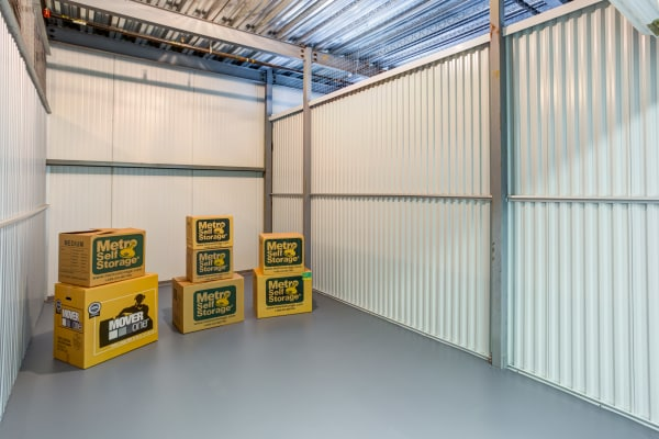 Indoor unit interior with packages at Metro Self Storage in Tampa, Florida